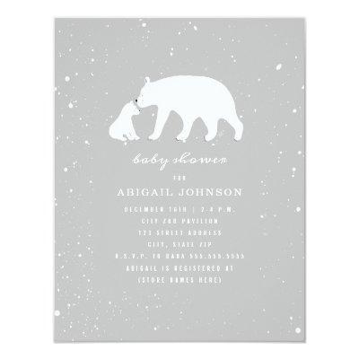 Mama and Baby Polar Bear Neutral Baby Shower Invitation