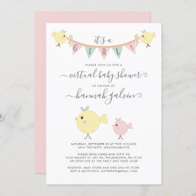 Mama Bird Little Chick Virtual Baby Girl Shower Invitation