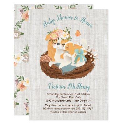 Mamma dog & baby puppy baby shower invitations