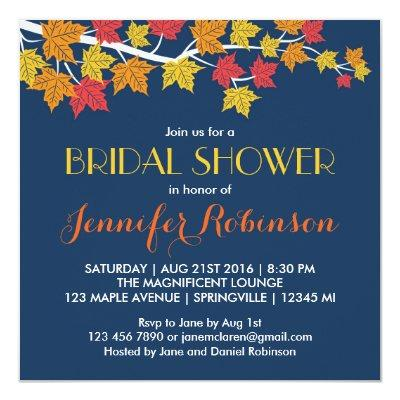 Maple Leaves Navy Blue Fall Wedding Invitations