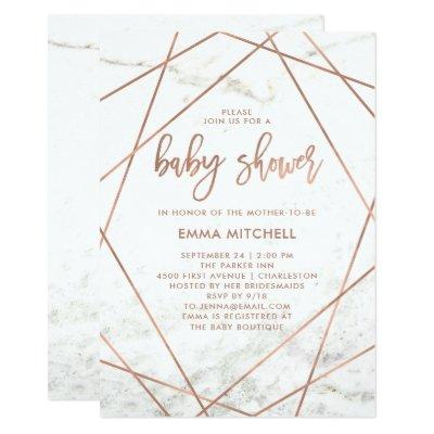 Marble and Faux Rose Gold Geometric Baby Shower Invitations