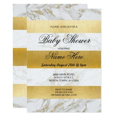 Marble Baby Shower Invite Stripe White Gold Party