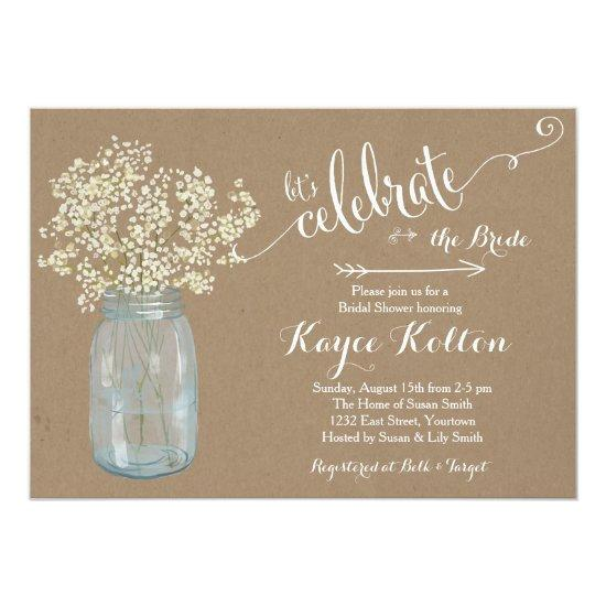 Mason Jar Baby's Breath Bridal Shower Invitations