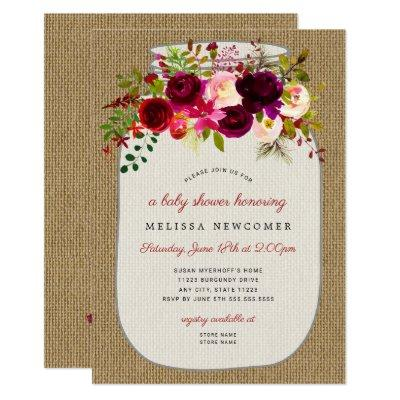 Mason jar burgundy floral baby shower invitations