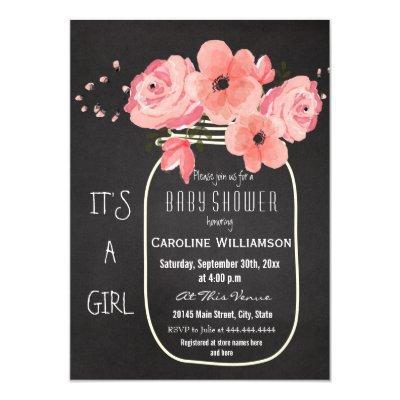 Mason Jar Flowers Chalkboard Baby Shower Invitation