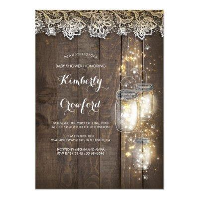Mason Jar Lights and Lace Rustic Baby Shower Invitation