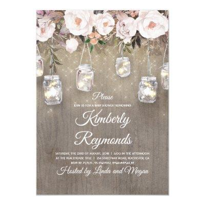 Mason Jar Lights Floral Rustic Baby Shower Invitations