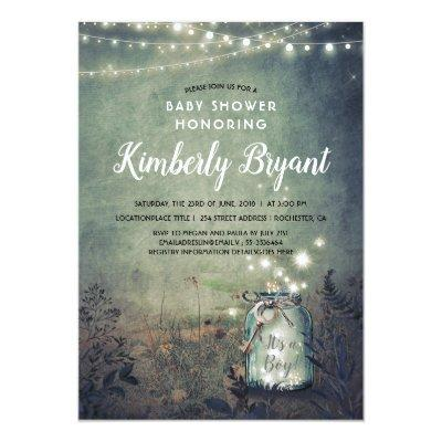 Mason Jar Lights Rustic Woodland Baby Shower Invitation