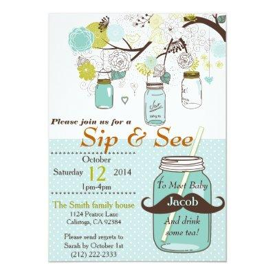 Mason Jar Sip & See Baby Invitations
