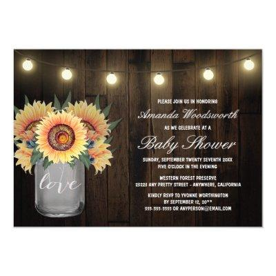 Mason Jar + Sunflower Baby Shower Invitations