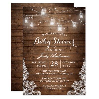 Mason Jars Lights Rustic Wood Lace Baby Shower Invitation