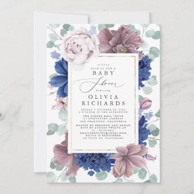 Mauve and Navy Blue Floral Baby Shower Invitation