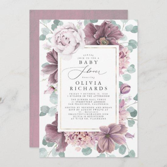 Mauve Flowers and Greenery Elegant Baby Shower Invitation