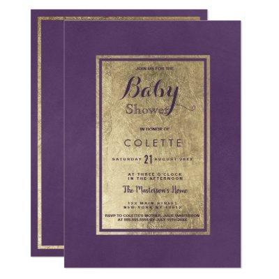 Mauve lavender violet faux gold Baby Shower Invitation