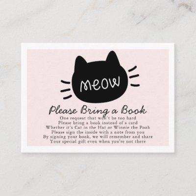 Meow Black Cat Face Pink Baby Shower Book Request Enclosure Card
