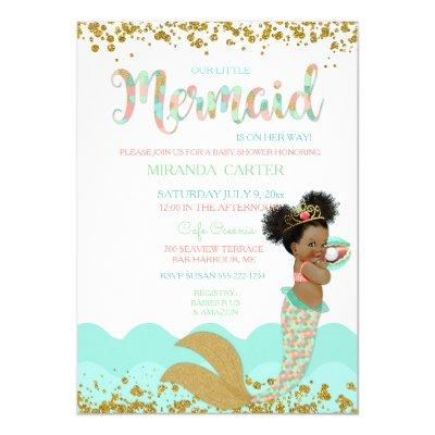 Mermaid Baby Girl African American Peach Mint Gold Invitation