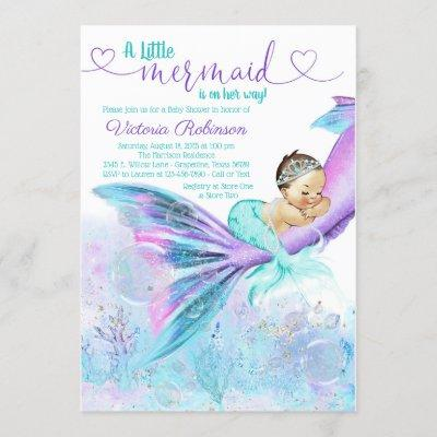 Mermaid Baby Girl Baby Shower Invitation