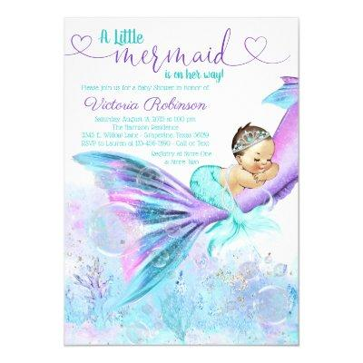 Mermaid Baby Girl Baby Shower Invitations