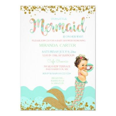 Mermaid Baby Girl Peach Coral Mint Gold Invitation