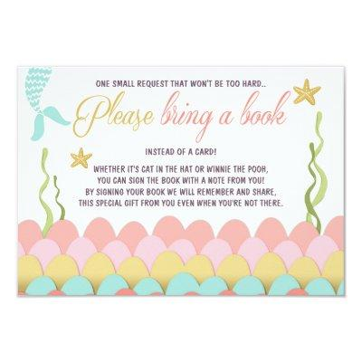 Mermaid Baby Shower Bring a book Girl Coral Gold Invitations