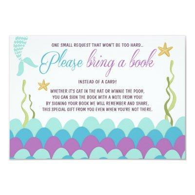 Mermaid Baby Shower Bring a book Purple Gold Invitations