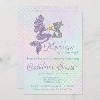 Mermaid baby Shower invitation Lavender Gold Teal