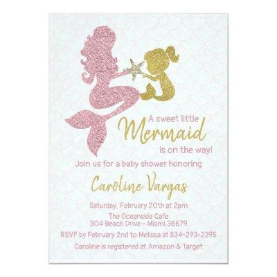 Mermaid Baby shower Invitation Rose Gold & Gold