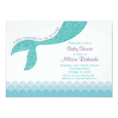 Mermaid , teal aqua purple Invitations
