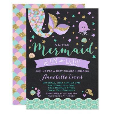 Mermaid Baby Shower Invitations Teal Purple Gold