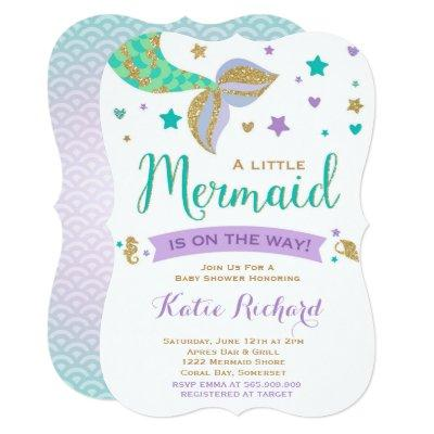 Mermaid Baby Shower Invitation Teal Purple Gold