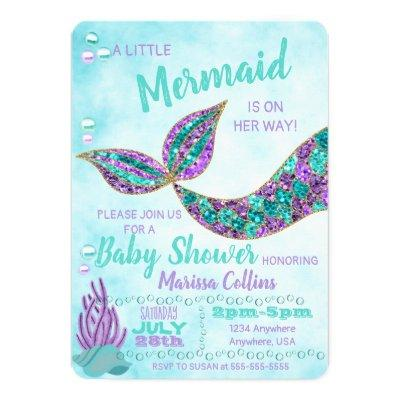 Mermaid Baby SHower Invitations, Under the Sea Invitations