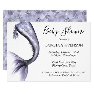 Mermaid Baby Shower | Lavender Purple Violet Tail Invitation