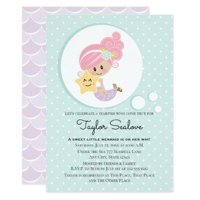 Mermaid Baby Shower Light Skin Tone Invitations
