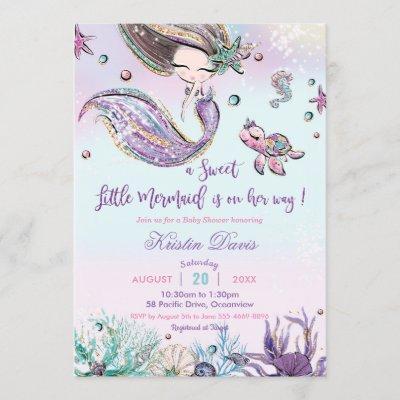 Mermaid Baby Shower Under the Sea Creatures Girl Invitation