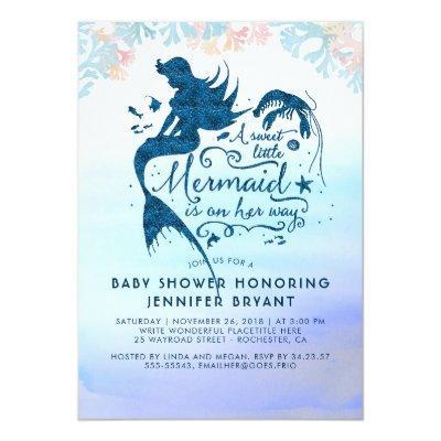 Mermaid Baby Shower Under The Sea Ocean Invitations