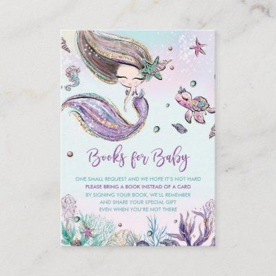 Mermaid Bring a Book Card Books for Baby Shower