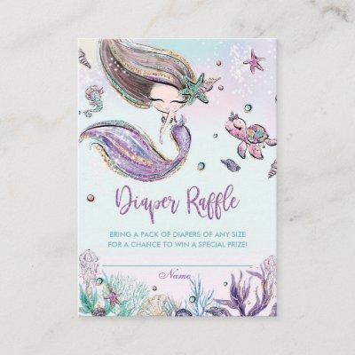 Mermaid Diaper Raffle Tickets Insert Baby Shower
