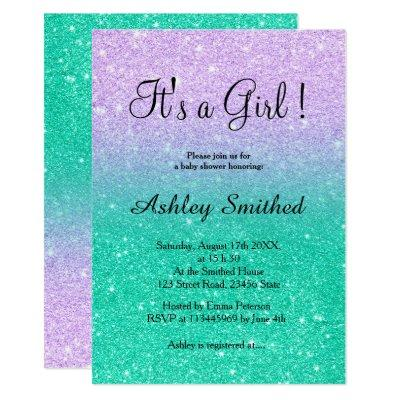 Mermaid glitter turquoise ombre girl baby shower invitation