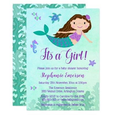Mermaid It's A Girl Baby Shower Invitations