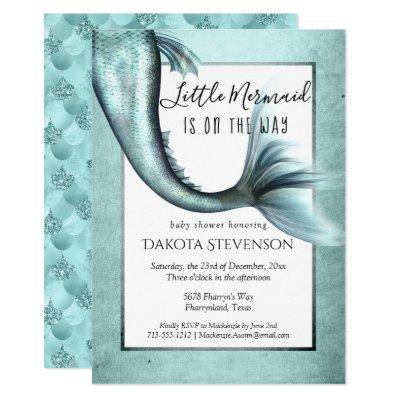 Mermaid Luxe Baby Shower | Turquoise Blue Sheen Invitation