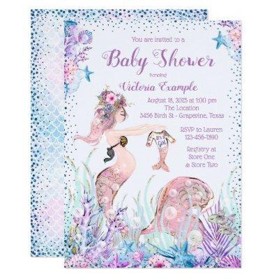 Mermaid Mom Baby Shower Invitations