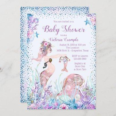 Mermaid Mom Baby Shower Invitations