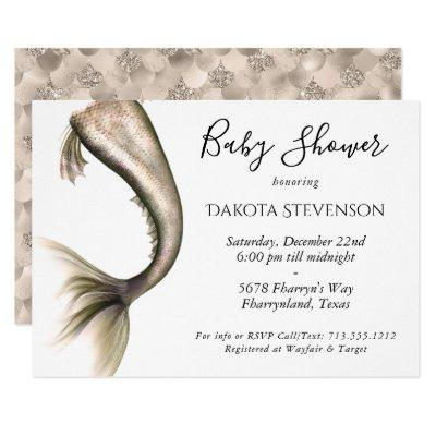 Mermaid Posh Baby Shower | Champagne Gold Taupe Invitation