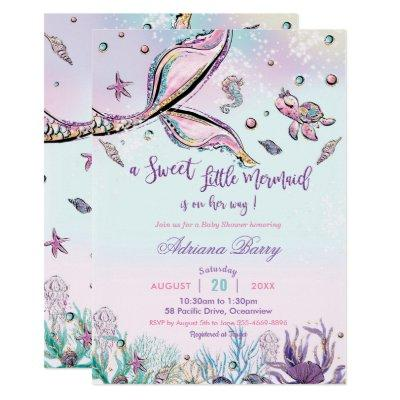 Mermaid Tail Baby Shower Under the Sea Baby Girl Invitation