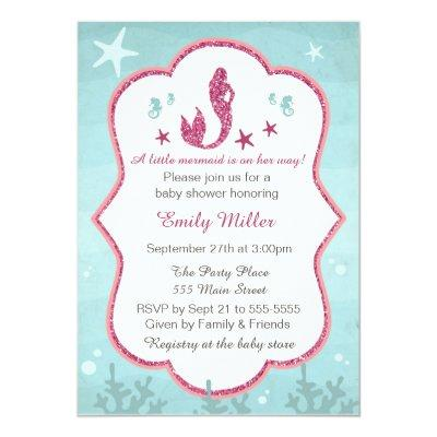 Mermaid Under The Sea Baby Girl Shower Invitations