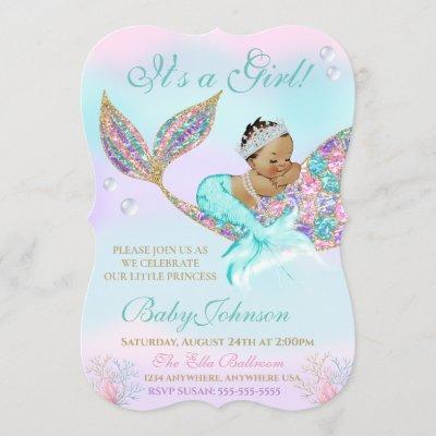 Mermaid Vintage Baby SHower Glitter Tail Invitation