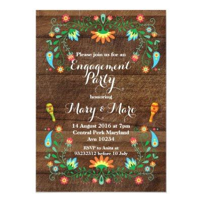 Mexican Fiesta Engagement Party Invitations