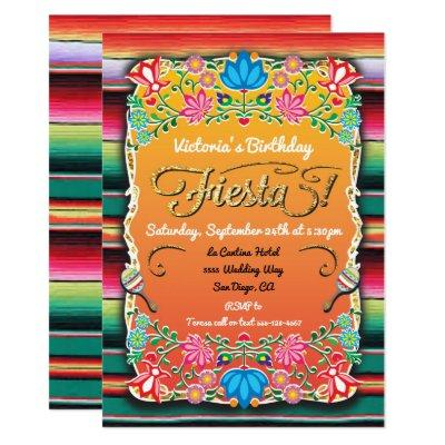 Mexican Fiesta Party Gold Glitter Invitations