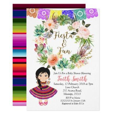 Mexican Girl Baby Shower Invitations