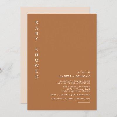 Mia - Burnt Orange Modern Minimalist Baby Shower Invitation